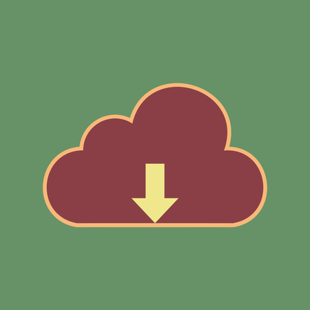 Cloud technology sign. Vector. Cordovan icon and mellow apricot halo with light khaki filled space at russian green background.