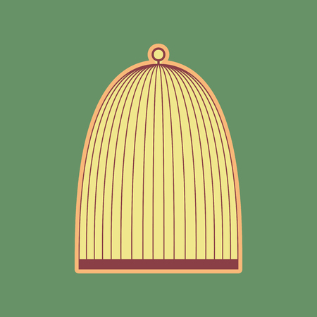 Bird cage sign. Vector. Cordovan icon and mellow apricot halo with light khaki filled space at russian green background.