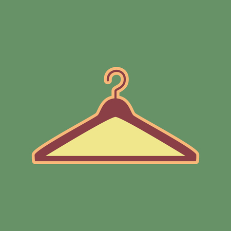 clothing rack: Hanger sign illustration. Vector. Cordovan icon and mellow apricot halo with light khaki filled space at russian green background. Illustration
