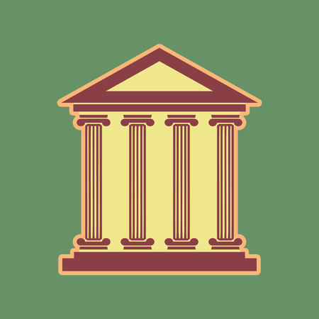 roman pillar: Historical building illustration. Vector. Cordovan icon and mellow apricot halo with light khaki filled space at russian green background. Illustration