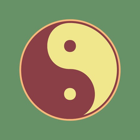 yin y yan: Ying yang symbol of harmony and balance. Vector. Cordovan icon and mellow apricot halo with light khaki filled space at russian green background. Vectores