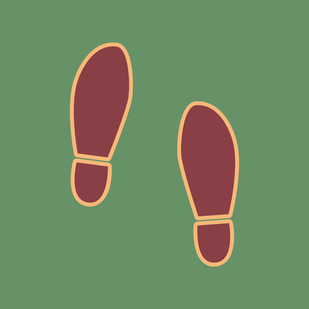 Imprint soles shoes sign. Vector. Cordovan icon and mellow apricot halo with light khaki filled space at russian green background. Illustration