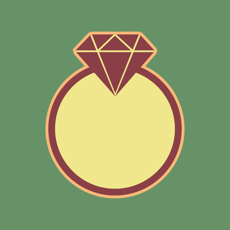 Diamond sign illustration. Vector. Cordovan icon and mellow apricot halo with light khaki filled space at russian green background. Illustration