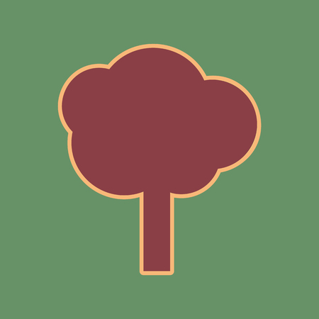 Tree sign illustration. Vector. Cordovan icon and mellow apricot halo with light khaki filled space at russian green background. Иллюстрация