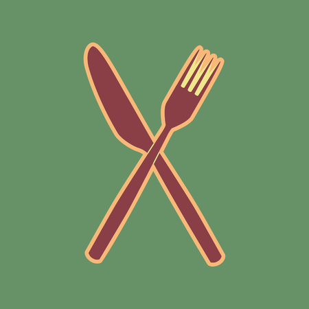 steel: Fork and Knife sign. Vector. Cordovan icon and mellow apricot.