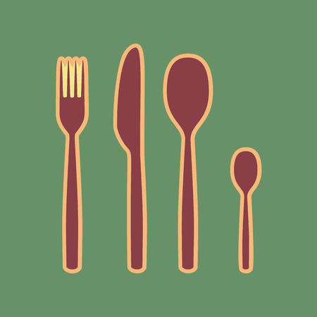 Fork spoon and knife sign. Vector. Cordovan icon and mellow apri