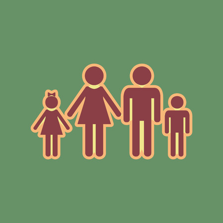 Family sign illustration. Vector. Cordovan icon and mellow apric