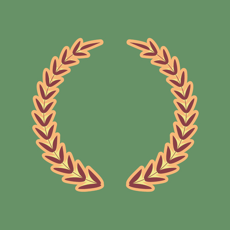 Laurel Wreath sign. Vector. Cordovan icon and mellow apricot hal