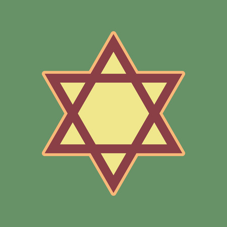 Shield Magen David Star. Symbol of Israel. Vector. Cordovan icon and mellow apricot halo with light khaki filled space at russian green background. Illustration