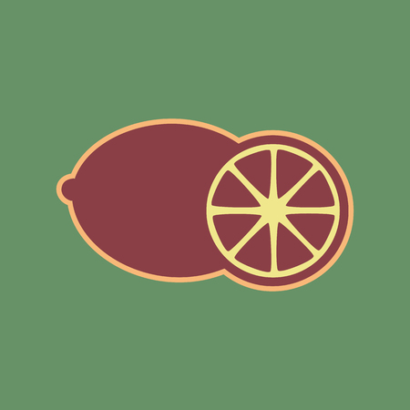 Fruits lemon sign. Vector. Cordovan icon and mellow apricot halo with light khaki filled space at russian green background.