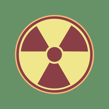 Radiation Round sign. Vector. Cordovan icon and mellow apricot halo with light khaki filled space at russian green background. Illustration
