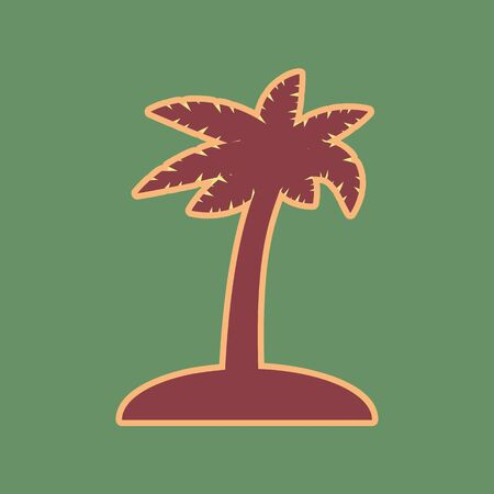 Coconut palm tree sign. Vector. Cordovan icon and mellow apricot halo with light khaki filled space at russian green background. Illustration