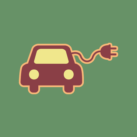 accumulator: Eco electric car sign. Vector. Cordovan icon and mellow apricot halo with light khaki filled space at russian green background.