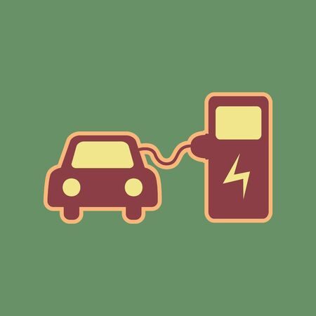 Electric car battery charging sign. Vector. Cordovan icon and mellow apricot halo with light khaki filled space at russian green background.