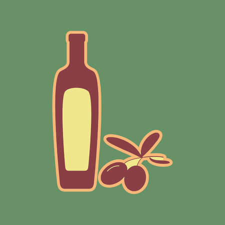 mediterranean diet: Black olives branch with olive oil bottle sign. Vector. Cordovan icon and mellow apricot halo with light khaki filled space at russian green background.
