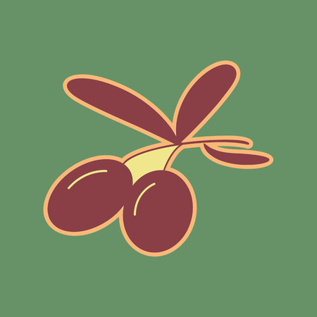 Olives sign illustration. Vector. Cordovan icon and mellow apricot halo with light khaki filled space at russian green background.