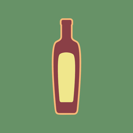 Olive oil bottle sign. Cordovan icon and mellow apricot halo with light khaki filled space with russian green background. Illustration