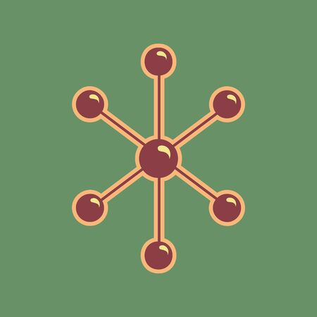 Molecule sign illustration.  Cordovan icon and mellow apricot halo with light khaki filled space with russian green background.