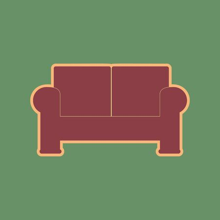 Sofa sign illustration. Vector. Cordovan icon and mellow apricot halo with light khaki filled space at russian green background.