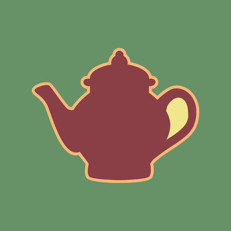 Tea maker sign. Vector. Cordovan icon and mellow apricot halo with light khaki filled space at russian green background.