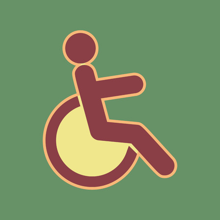 filled: Disabled sign illustration. Vector. Cordovan icon and mellow apricot halo with light khaki filled space at russian green background.