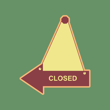 Closed sign illustration. Vector. Cordovan icon and mellow apricot halo with light khaki filled space at russian green background.