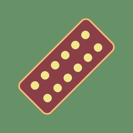 Medical Pills sign. Vector. Cordovan icon and mellow apricot halo with light khaki filled space at russian green background.