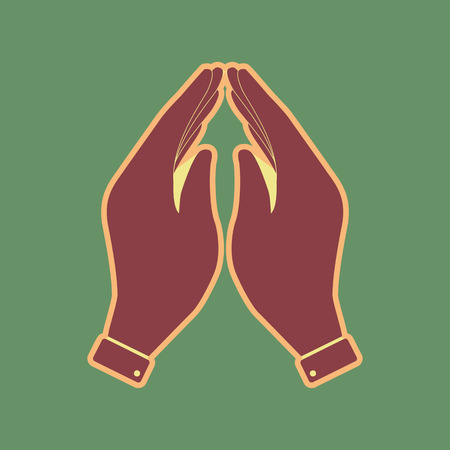 Hand icon illustration. Prayer symbol. Vector. Cordovan icon and mellow apricot halo with light khaki filled space at russian green background. Illustration
