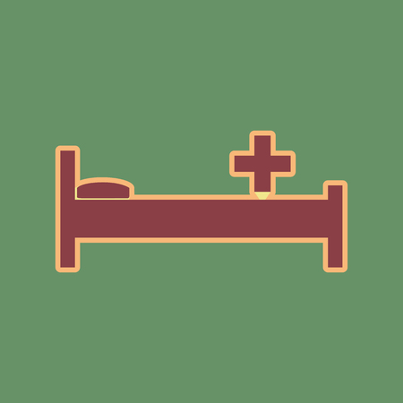 Hospital sign illustration. Vector. Cordovan icon and mellow apricot halo with light khaki filled space at russian green background.