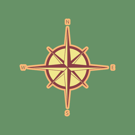 navigational light: Wind rose sign. Vector. Cordovan icon and mellow apricot halo with light khaki filled space at russian green background.