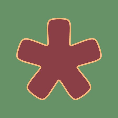 Asterisk star sign. Vector. Cordovan icon and mellow apricot halo with light khaki filled space at russian green background.