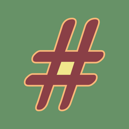Hashtag sign illustration. Vector. Cordovan icon and mellow apricot halo with light khaki filled space at russian green background. Illustration