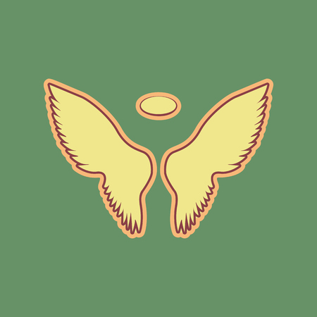 Wings sign illustration. Cordovan icon and mellow apricot halo with light khaki filled space at Russian green background.