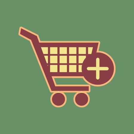 Shopping Cart with add Mark sign. Vector. Cordovan icon and mellow apricot halo with light khaki filled space at russian green background.