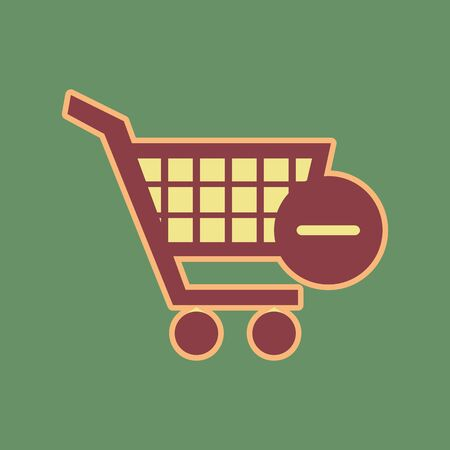 Vector Shopping Cart with Remove sign. Vector. Cordovan icon and mellow apricot halo with light khaki filled space at russian green background. Illustration