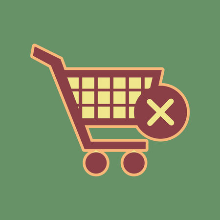 Shopping cart with delete sign. Cordovan icon and mellow apricot halo with light khaki filled space at Russian green background.