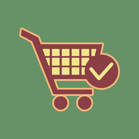 Shopping cart with check mark sign. Cordovan icon and mellow apricot halo with light khaki filled space at Russian green background. Illustration