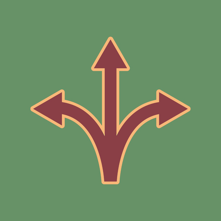 Three-way direction arrow sign. Vector. Cordovan icon and mellow apricot halo with light khaki filled space at russian green background.