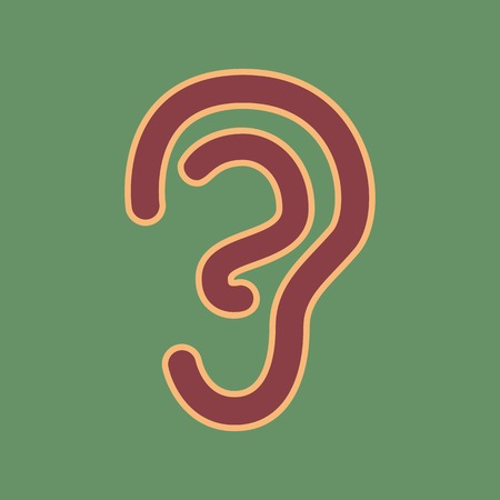 Human anatomy. Ear sign. Vector. Cordovan icon and mellow apricot halo with light khaki filled space at russian green background.
