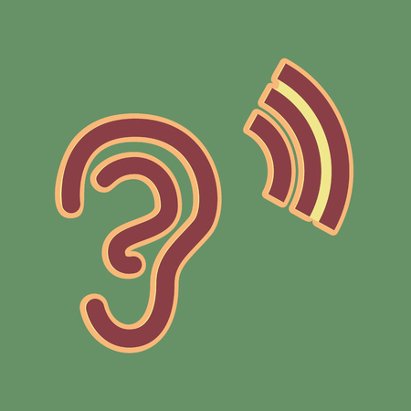 Human anatomy. Ear sign with soundwave. Vector. Cordovan icon and mellow apricot halo with light khaki filled space at russian green background.