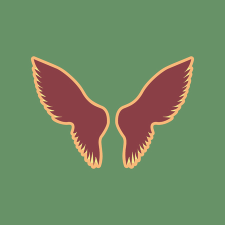 Wings sign illustration. Vector. Cordovan icon and mellow apricot halo with light khaki filled space at russian green background. Illustration