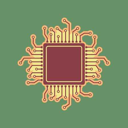 microcircuit: CPU Microprocessor illustration. Vector. Cordovan icon and mellow apricot halo with light khaki filled space at russian green background.