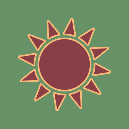 Sun sign illustration. Vector. Cordovan icon and mellow apricot halo with light khaki filled space at russian green background. Illustration
