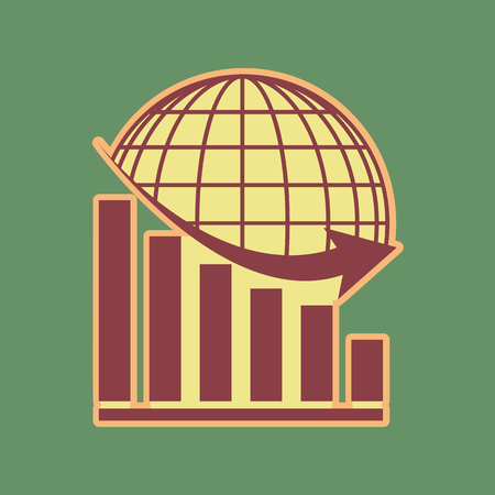 Declining graph with earth. Vector. Cordovan icon and mellow apricot halo with light khaki filled space at russian green background.