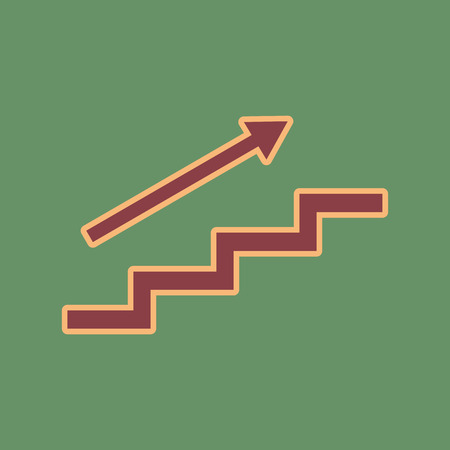 Stair with arrow. Vector. Cordovan icon and mellow apricot halo with light khaki filled space at russian green background. Illustration