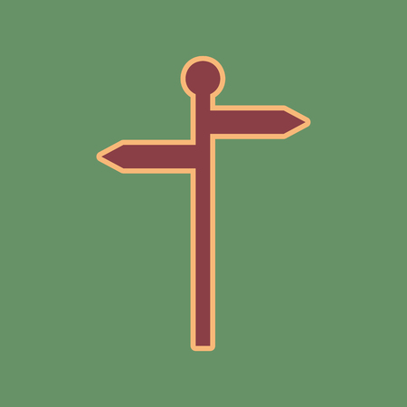 navigational light: Direction road sign. Vector. Cordovan icon and mellow apricot halo with light khaki filled space at russian green background. Illustration