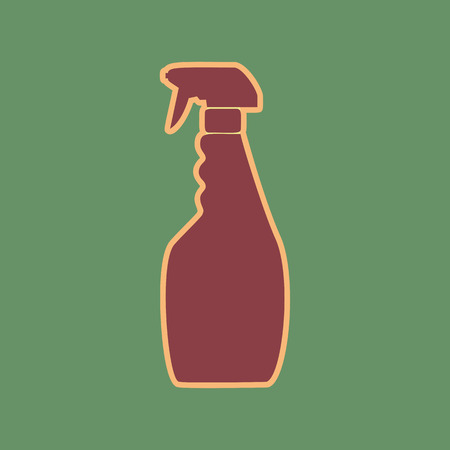 Plastic bottle for cleaning. Vector. Cordovan icon and mellow apricot halo with light khaki filled space at russian green background.