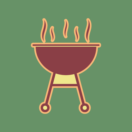 khaki: Barbecue simple sign. Vector. Cordovan icon and mellow apricot halo with light khaki filled space at russian green background.