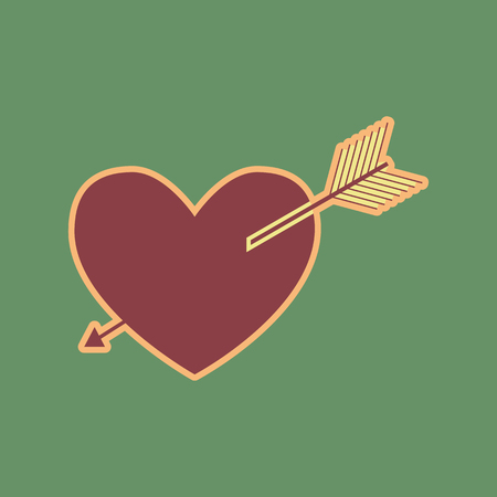 cor: Arrow heart sign. Vector. Cordovan icon and mellow apricot halo with light khaki filled space at russian green background.