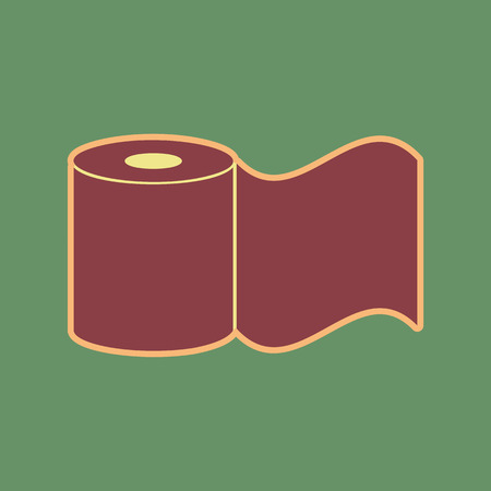 Toilet Paper sign. Vector. Cordovan icon and mellow apricot halo with light khaki filled space at russian green background.